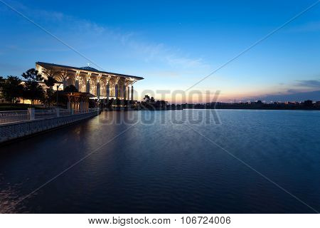Iron Mosque of Putrajaya during blue hour