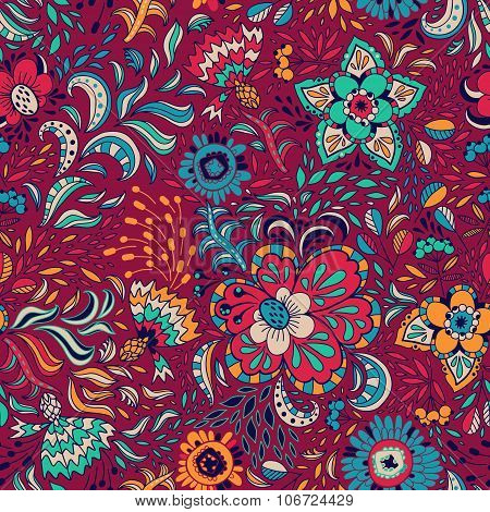 Vector floral seamless pattern with abstract flowers and berries on a dark background.