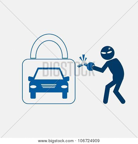 Car Protection To Stealing Symbol
