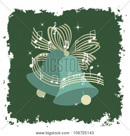 Musical Bells with Ribbon bow and musical notes