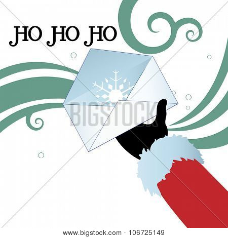 Santa hand with open envelope containing a snowflake  Ho ho ho greeting and copyspace  for your input on bottom left