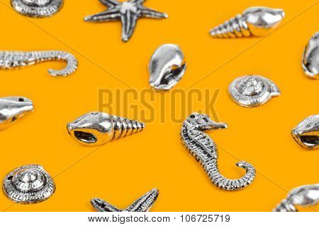 Group of sea conches - beach concept background