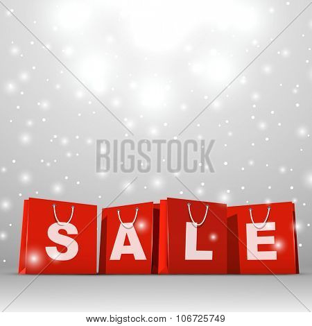 Christmas sale red paper shopping bags vector template.