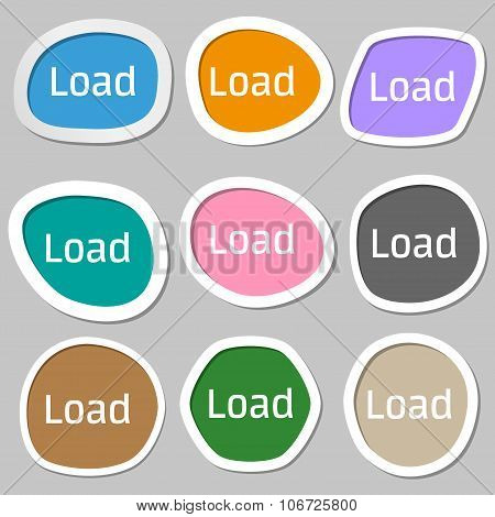 Download Now Icon. Load Symbol. Multicolored Paper Stickers. Vector