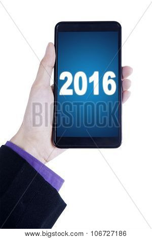 Businessperson Hand Holds Cellphone With Numbers 2016