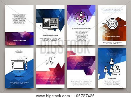 Set of Flyer, Brochure Design Templates. Geometric Triangular Abstract Modern Backgrounds. Poligonal Technology Style Cards Collection. Beautiful Vector Frames.
