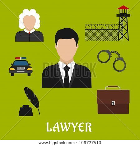 Lawyer and justice flat symbols or icons