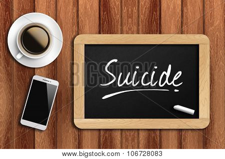 Coffee, Phone  And Chalkboard With  Word Suicide