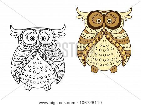 Cartoon yellow owl with brown striped wings