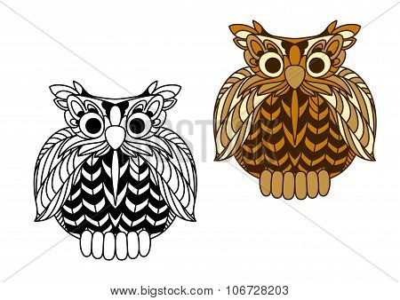 Cartoon old wise eagle owl character