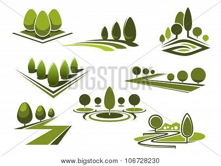 Parks and gaden icons with green trees