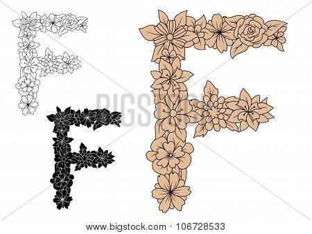Vintage floral capital letter F