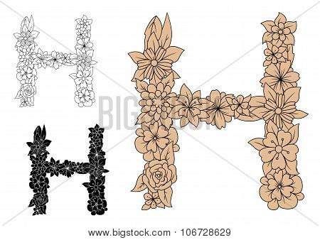 Capital letter H with floral elements