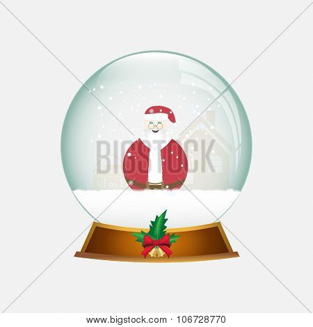 Christmas Snow Globe With Santa And Snow.