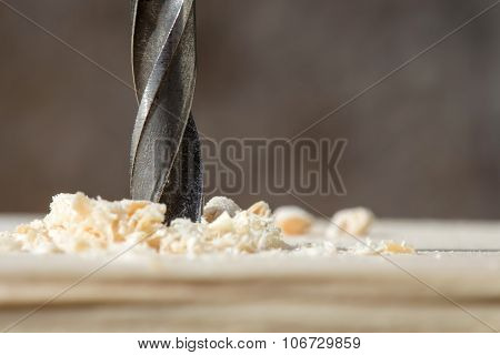 Drill With Sawdust