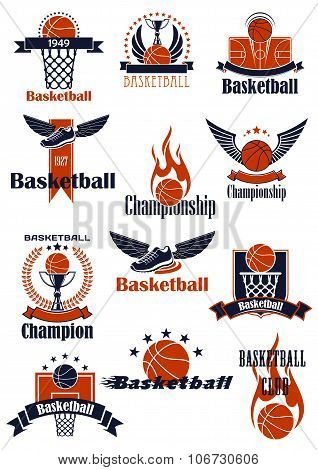 Basketball Championship or sporting club emblems
