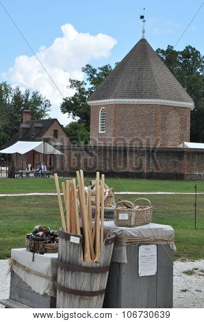 Magazine and Guardhouse in Colonial Williamsburg in Virginia