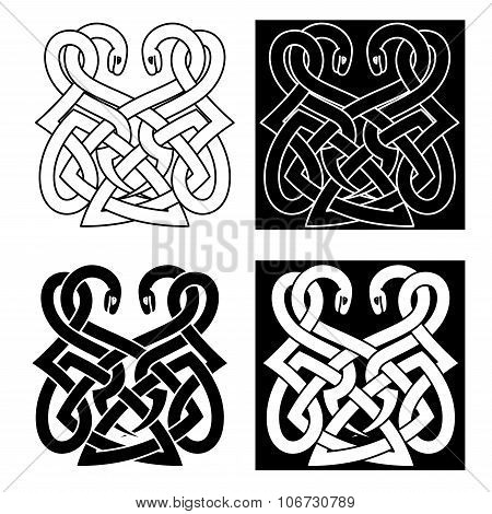 Celtic ornament with two intertwined snakes