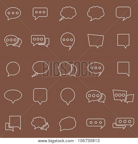 Speech Bubble Line Color Icons On Brown Background