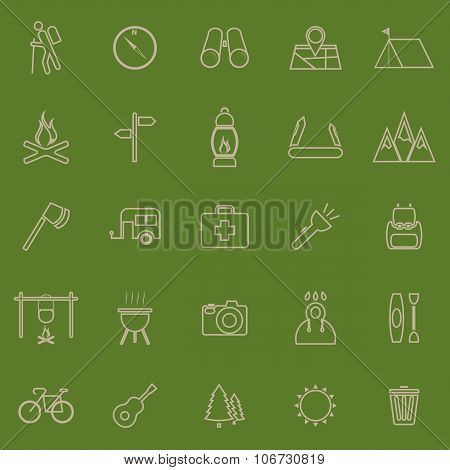 Trekking Line Color Icons On Green Background