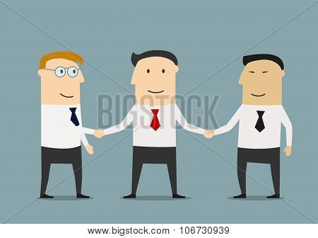 Businessman shakes hands two partners