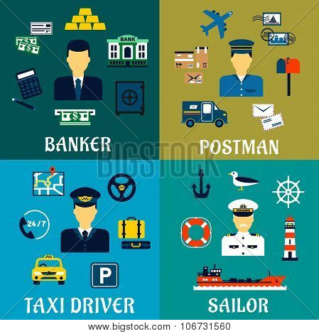 Banker, taxi driver, postman and sailor icons