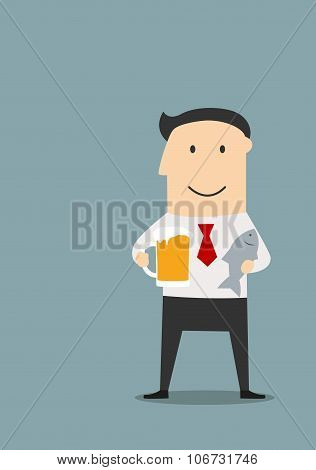 Businessman with beer and dried fish
