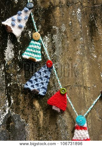 Handmade Ornament, Knitted Pine Tree, Christmas, Xmas