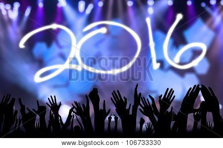 Hands Celebrating New Year Of 2016