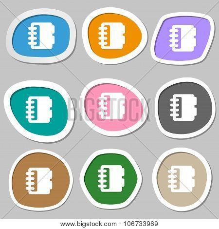 Notepad, Calendar Icon Symbols. Multicolored Paper Stickers. Vector