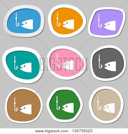 Fishing Icon Symbols. Multicolored Paper Stickers. Vector