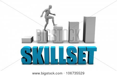 Skillset 3D Concept  in Blue with Bar Chart Graph
