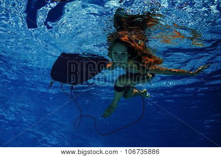Lady lying on the surfboard