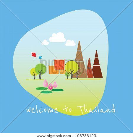 Landscape Of Thailand Temple Illustration Vector
