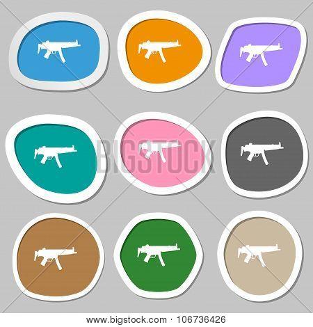 Machine Gun Icon Symbols. Multicolored Paper Stickers. Vector