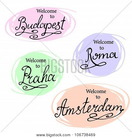 Calligraphy Collection: Madrid, Paris, London, Berlin. Hand-lettering City Names. City Emblems Vecto