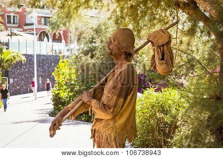 Street Performer-meme Depicts A Wandering Poor Man, Costa Adeje, Tenerife, Spain