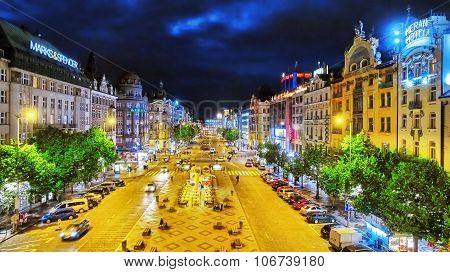 Prague,czech Republic- September 06, 2015: Wenceslas Square In Prague At Night, Dusk Time,top View.s