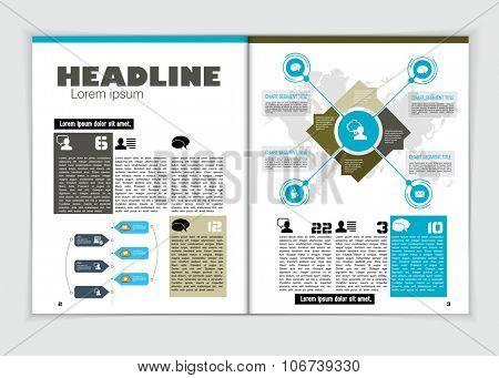 Business economy magazine, layout, vector