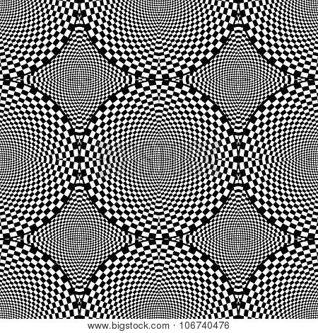 Design Seamless Monochrome Checked Circle Pattern