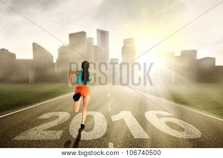 Woman Runs On The Highway With Numbers 2016