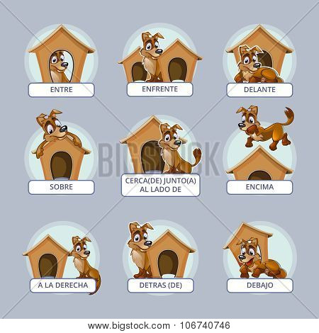 Cartoon dog in different poses to illustrate Spanish prepositions of place. Vector illustration for