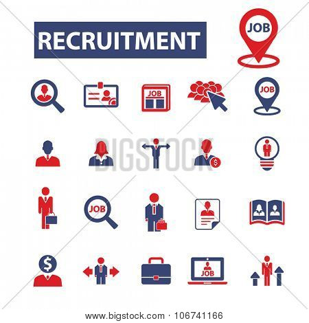 recruiment, headhunter, job icons, signs vector concept set for infographics, mobile, website