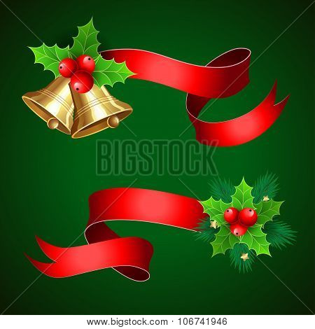 Christmas Holiday Decoration With Red Ribbons.
