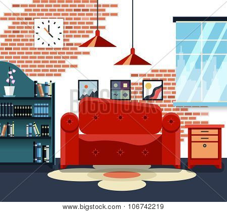 Living room with furniture and long shadows. Vector illustration