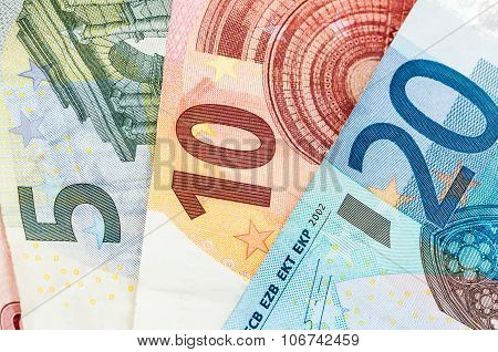 Money Five, Ten And Twenty Euro Bills