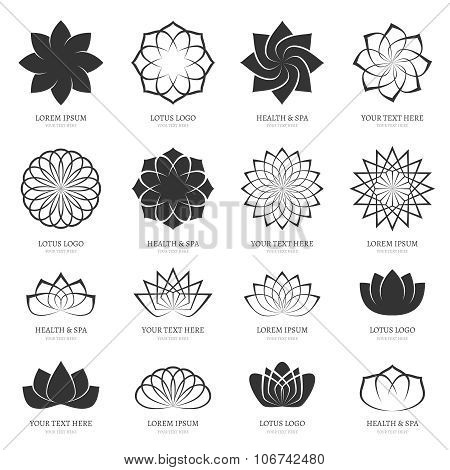 Abstract vector lotus flowers for spa, yoga class, hotel logos