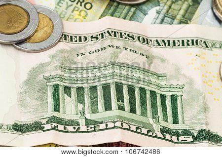 Money Euro Five Dollar Bill Coins