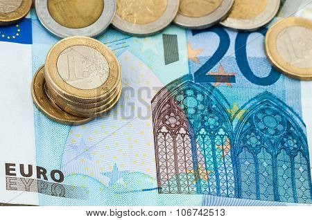 Twenty Euro Bill Financial Concept