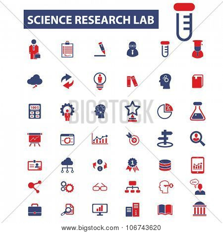 science research lab icons, signs vector concept set for infographics, mobile, website